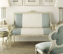 silk blue and white chair