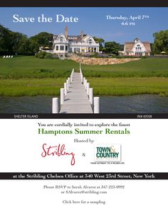 Please join us on April 7th from 4-6pm at the Stribling Chelsea Office to explore the finest #Hamptons Summer #Rentals!  To preview: https://lnkd.in/er7_2bs