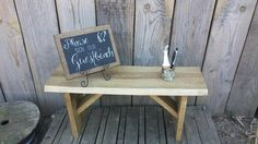 Check out this item in my Etsy shop https://www.etsy.com/listing/156583675/rustic-wedding-bench-guest-book