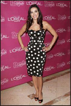 Kika Rocha, Beauty and Fashion authority. Strapless polka dot dress with white details