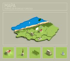 Mapa Leiria - Isometric Map by Rodrigo Machado, via Behance