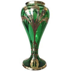 Art Nouveau Green Glass Silver Overlay Vase c.1900 | From a unique collection of antique and modern glass at http://www.1stdibs.com/furniture/dining-entertaining/glass/