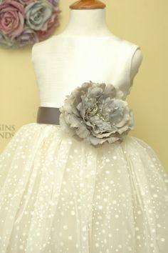 Peony FLOWER sash flower girl dress for weddings sizes 1-8. Classic style sleeveless full skirt rosette sash dress for girls