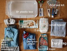 kid emergency box- great for the car. Diaper blowouts, vomiting, wet clothes, etc.