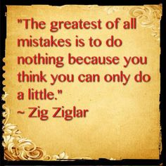 The greatest of all mistakes is to do nothing because you think you can only do a little.                             ~Zig Zigler