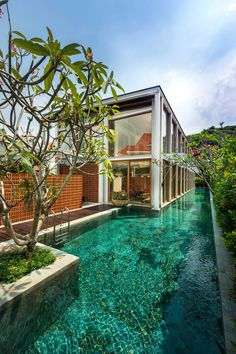 Pool design inspiration byCOCOON | villa design | hotel design | bathroom design | design products for easy living | Dutch Designer Brand COCOON | Bungalow in Singapore by Visual Text Architect