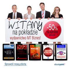 Są, są, są! Ebooki i audiobooki wydawnictwa MT Biznes na Ebookpoint.pl  Dzięki tym książkom poznacie najnowsze tendencje w dziedzinie zarządzania, finansów, marketingu, psychologii biznesu i dowiecie się, jak kierować własną firmą.  Nową ofertę znajdziecie na stronie --> http://ebookpoint.pl/wydawca/mt-biznes  PS. Na dobry początek mamy dla Was TOP 20 ebooków MT BIZNES z 50% RABATEM  --> http://ebookpoint.pl/promocja/439/