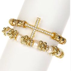 Cross & Pearls Bracelet Set Gold tone cross bracelet and gold tone genuine pearl bracelet set. Gold plated with glass crystals and pearls. You get one of each!  Stunning a T & J design. Photos compliments of T & J Designs T&J Designs Jewelry Bracelets