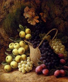 George Clare (1835-1890) —  Still Life With Apples Grapes And Plums (1000x834)