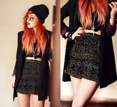 Love the skirt and long jacket    Christmas Eve. (by Lua P) http://lookbook.nu/look/4385929-Christmas-Eve