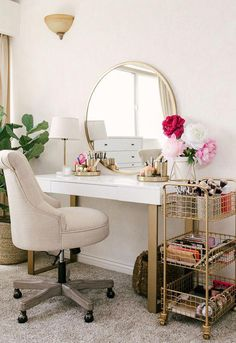 20 Best Makeup Vanities & Cases for Stylish Bedroom 20 Best. - 20 Best Makeup Vanities & Cases for Stylish Bedroom 20 Best Makeup Vanities & - Home Design, Interior Design, Design Ideas, Room Interior, Cute Room Decor, Gold Room Decor, Wall Decor, Stylish Bedroom, Diy Bedroom