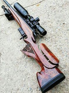 Custom wood and well done, a rarity on a long range tactical rifle in today's world of metal, fiberglass and high grade plastics. Survival Weapons, Weapons Guns, Guns And Ammo, Tactical Rifles, Firearms, Sniper Rifles, Shotguns, Rifle Stock, Custom Guns