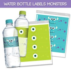 6 Printable Water Bottle Labels Monsters Inc de Migueluche en Etsy