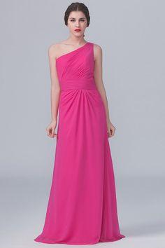 44b930b2ce57 One Shoulder Sleeveless Long Ruched Sheath Chiffon Bridesmaid Dress –  JoJoBride #prom #party #dance #dancewear #girl #women #womensfashion # dresses #skirts ...