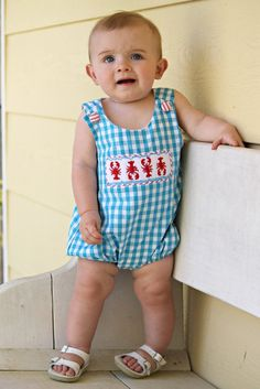 Baby Romper Smocked Styles! Shop www.thesmockingbug.com Adorable smocked clothes for boys and baby and socked dresses for girls! This is the ultimate kids gingham bubble for Spring and Summer!   Aqua Gingham Smocked Crawfish Boil Boys Bubble with