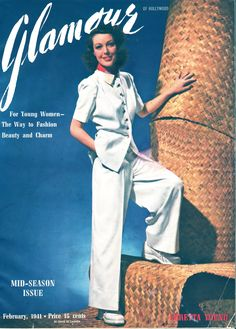Loretta Young 1941 pant suit jacket trousers shoes white vintage fashion movie star model 40s War Era WWII resort day sports wear