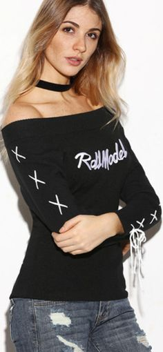 Black Boat Neck Letter Embroidery Lace Up Sleeve Sweater