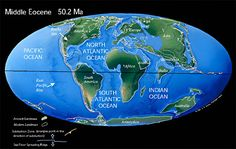 #Eocene #Earth 50 - 55 million  years ago India began to collide with Asia forming the Tibetan plateau and Himalayas.  Australia, which was attached to Antarctica, began to move rapidly northward.