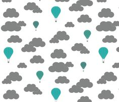 I had this design printed as wallpaper and the grey had a gorgeous silver quality and the colour of the balloons really popped! This would be wonderful wallpaper in the bedroom, with a few matching throw pillows thrown in.
