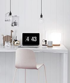 When it comes to Scandinavian-style work spaces, keep things as pared back as possible and display mostly utilitarian objects, like pen holders, pendant lights, and a few tech accessories. Home Office, Office Nook, Office Workspace, Office Decor, Scandinavian Style, Scandinavian Interior Design, Nordic Style, Workspace Inspiration, Interior Inspiration