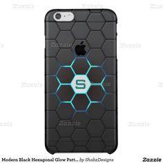 Modern black hexagonal glow pattern with personalized monogram iPhone 6 plus case.