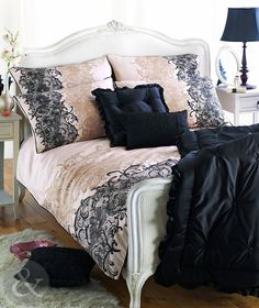 100% COTTON SATEEN DUVET COVER - Printed Lace Bedding Gold Cream & Black Bed Set