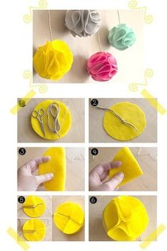 DIY-Felt Decoration Balls by elvira Felt Diy, Felt Crafts, Fabric Crafts, Diy And Crafts, Arts And Crafts, Felt Flowers, Diy Flowers, Fabric Flowers, Flower Diy