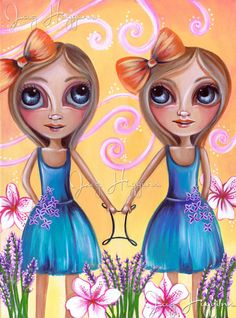 "ORIGINAL PAINTING ""Gemini"" Zodiac Girls by Jaz Higgins"