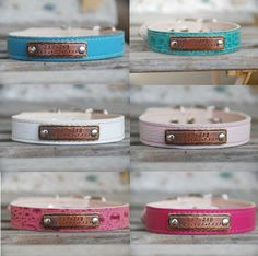 Personalized Leather Dog Collar with Hand-Stamped Name Plate ID Tag Bohemian Southwest Boho Leather Dog Collar
