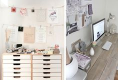 pretty white rustic office Office Inspo, Office Decor, Home Office, Office Chic, Space Crafts, Craft Space, Feminine Office, Future Office, Rustic Office