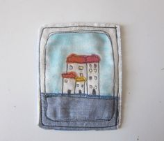 Mixed media textile art with embroidery by LittleBirdOfParadise