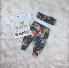 Coming Home Outfit Baby Girl Yellow Grey Floral Theme Gold Newborn Coming Home Outfit, Baby Outfits Newborn, Toddler Outfits, Kids Outfits, Baby Kids Wear, Baby Girls, 7 Month Old Baby, Baby Shower Gifts For Boys, Cute Baby Clothes