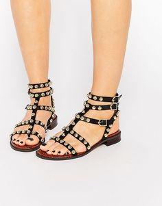 Sam Edelman Eavann Studded Gladiator Flat Sandal at ASOS. Flat Gladiator Sandals, Strappy Sandals, Shoes Sandals, Black Flats Shoes, Casual Shoes, Flat Shoes, Moda Online, Types Of Shoes, Heels