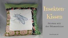 Sticken mit der Nähmaschine: Insektenkissen | Anleitung