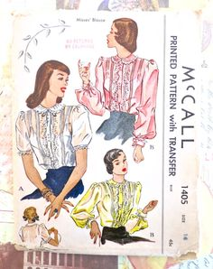 McCall 1405 - Vintage 1940s  Womens Sheer Blouse Pattern with Embroidery and Pintucks by Fragolina on Etsy