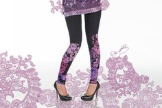 black leggings with pink and lilac lace animal print by ZIBtextile, $50.00