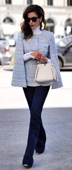 Best office style / jacket + bag + jeans + heels
