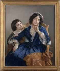 Portrait de madame Louis-Auguste Bornot avec son fils Camille en buste
