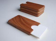 Handmade Wooden Business Card Holder. Really classy