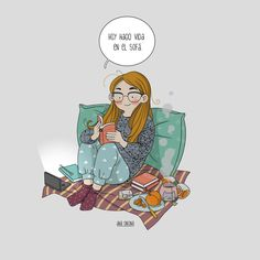 Today I live on the couch. Introvert Girl, Buch Design, Coffee And Books, Cute Illustration, Disney Art, Cute Drawings, Cute Cartoon, Cute Art, Book Lovers