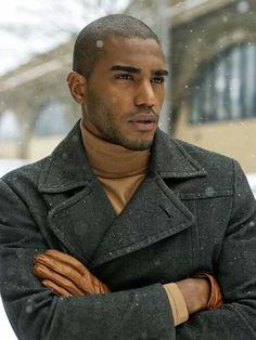 Men's winter coat Oversized rectangular glasses would look great!