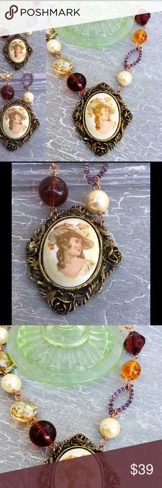 Vintage Lady Cameo Necklace One of a kind vintage assemblage necklace using lovely Victorian lady cameo by Kimberly O Art Kimberly O Art Jewelry Necklaces