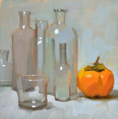 Carol Marine's Painting a Day: Glass vs. Persimmon