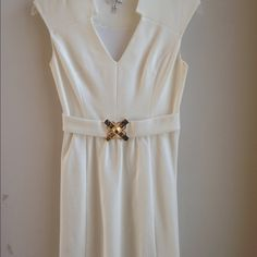 Milly dress size small Milly stretchy viscose dress, size small.  Sleeveless, notched v-neck, gold-tone at waistband, lined Milly Dresses