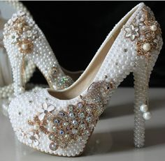 Pérola de luxo strass sapatos de noiva mulheres 3 plataforma de salto alto sapatos de casamento 9 CM 10 CM 11 CM em Bombas das mulheres de Sapatos no AliExpress.com | Alibaba Group