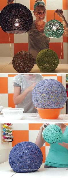 Awesome How to Make Yarn Globes | DIY Home Decor Ideas on a Budget Living Room | Easy Decorating Ideas for the Home Hacks  The post  How to Make Yarn Globes | DIY Home Decor Ideas on a Budget L ..