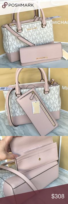 mk Satchel setKellen/crossbody Both bag and wallet brand new with tags. Authentic ⭐️ vanilla /ballet color. Purse strap removable. Gold hard wear both. Michael Kors Bags Satchels