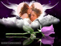 fotomontaje con rosa violeta