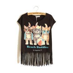 Polyester Miracle Tassel Women Short Sleeve T-Shirts