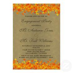 Chevron Engagement Party Invitation Grey And Orange Fall Autumn